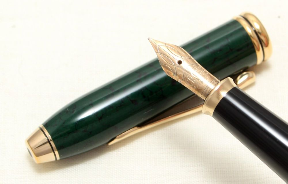 9031 AT Cross 'Townsend' Fountain Pen Laque Green Marble. Mint and Boxed, F