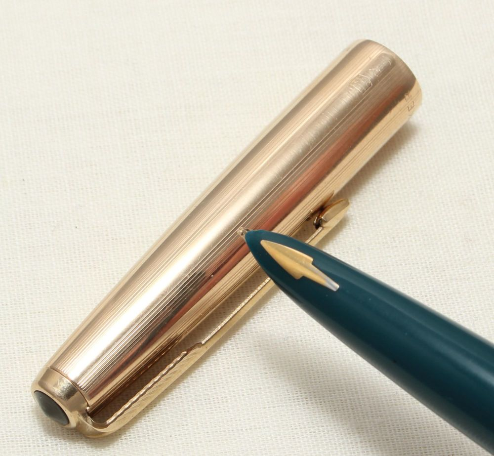 9065 Parker 61 in Teal Blue with a Rolled Gold Cap. Medium FIVE STAR Nib.