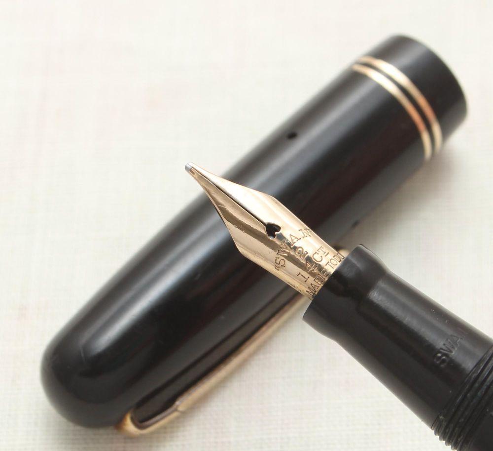9102 Swan (Mabie Todd) Self Filler 3260 Fountain Pen in Black. Smooth Mediu