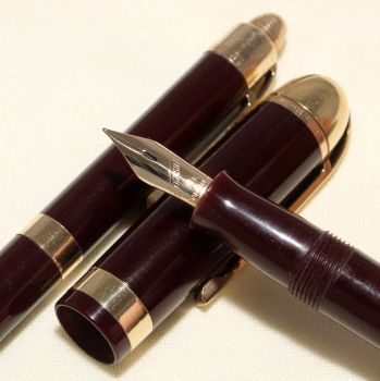 9111 Eversharp Skyline Fountain Pen and Pencil set in Dark Burgundy. Fine Semi Flex FIVE STAR Nib.