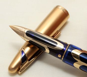 9124 Watermans Edson Boucheron Limited Edition Fountain Pen in Blue with an 18k Overlay. Smooth Fine nib.