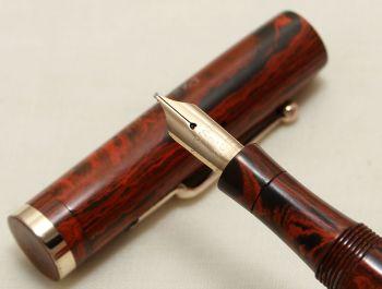 9154. Superb Early Swan (Mabie Todd) SF2 Fountain Pen in Woodgrain. Medium Italic FIVE STAR Nib.