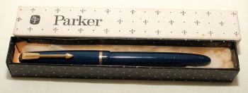 9161 Parker Duofold Slimfold in Blue, c1965. Smooth Medium Nib. Mint and Boxed.