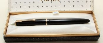 9179 Parker Duofold Slimfold in Black, c1965. Smooth Medium Italic FIVE STAR Nib. Mint and Boxed.
