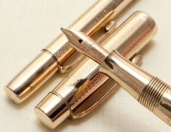 "9181 Onoto ""The Pen"" in Rolled Gold with Matching Propelling Pencil, Mint and Boxed, Medium Italic Flex FIVE STAR Nib."