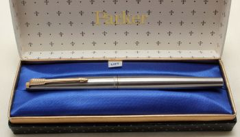 9182 Parker 45 GT Flighter in Brushed Stainless Steel. Smooth Medium FIVE STAR Nib. Mint and Boxed.