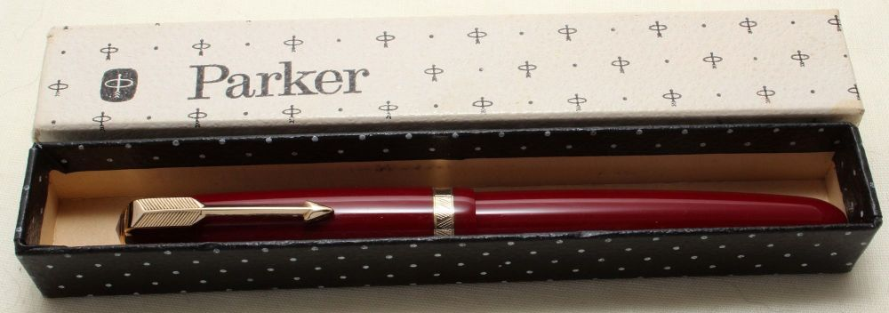 9183 Parker Duofold in Burgundy. Smooth Medium FIVE STAR Nib. Mint and Boxe