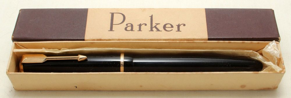 9184 Parker Duofold Junior in Black, c1965. Smooth Medium FIVE STAR Nib.