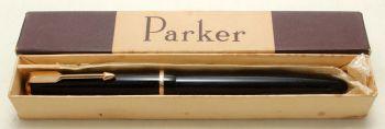 9184 Parker Duofold Junior in Black, c1965. Smooth Medium FIVE STAR Nib.