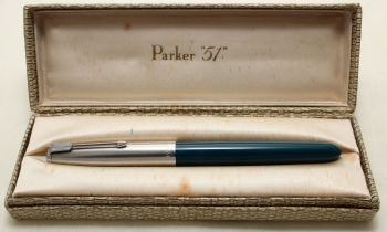 9187. Parker 51 Aerometric in Teal Blue with a Lustraloy Cap, Smooth Medium FIVE STAR Nib. Boxed.