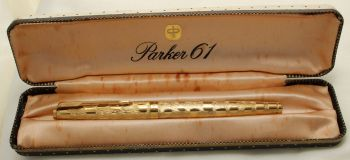 "9205 Parker 61 Cumulus, Rolled Gold Cap and Barrel, Special ""Cloud Series"" Edition from 1976, Extra Fine FIVE STAR Nib."