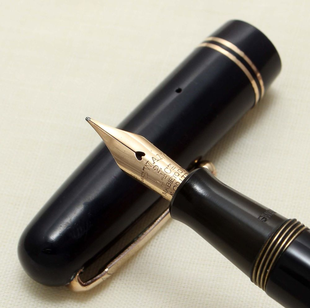 9216 Swan (Mabie Todd) Self Filler 3220 Fountain Pen in Dark Blue. Smooth F