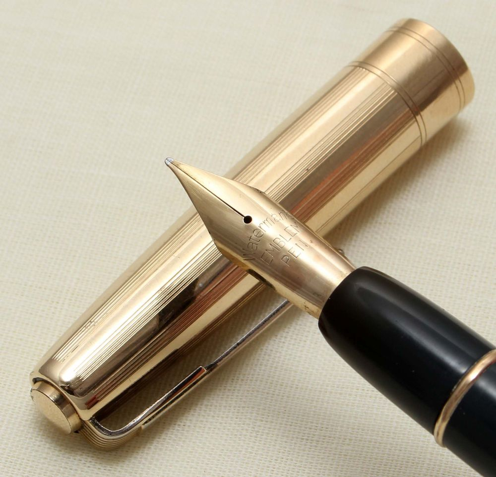 9217 Watermans Emblem Fountain Pen in Blue,  Medium Flex FIVE STAR Nib.