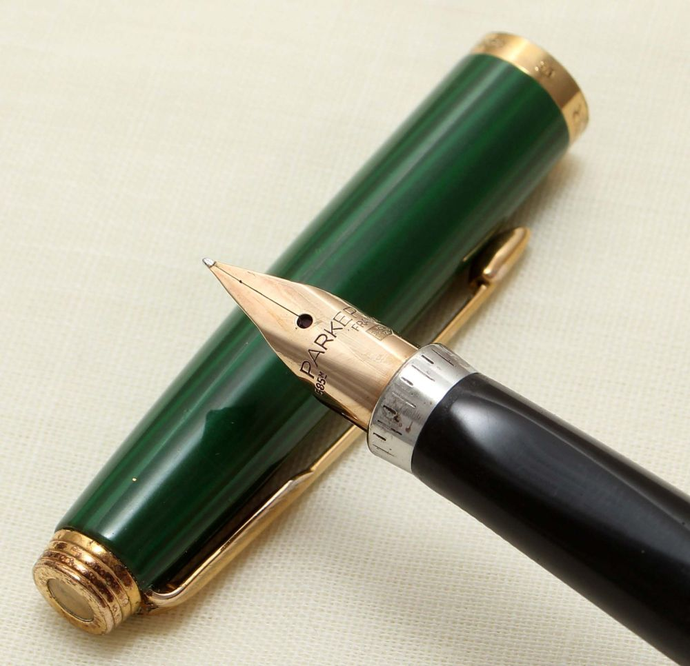 9218 Parker 75 Fountain Pen in Malachite, c1980. Extra Fine FIVE STAR Nib.