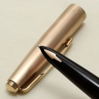 "9221 Parker 61 Cirrus, Rolled Gold Cap and Barrel, Special ""Cloud Series"" Edition from 1976, Fine Side of Medium FIVE STAR Nib."