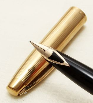 9233 Sheaffer Imperial Rolled Gold Fountain Pen. Smooth Fine Side of Medium FIVE STAR Nib.