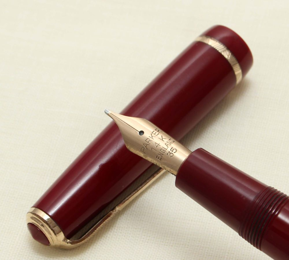 9238 Parker Duofold Senior in Burgundy, c1965. Smooth Medium FIVE STAR Nib.