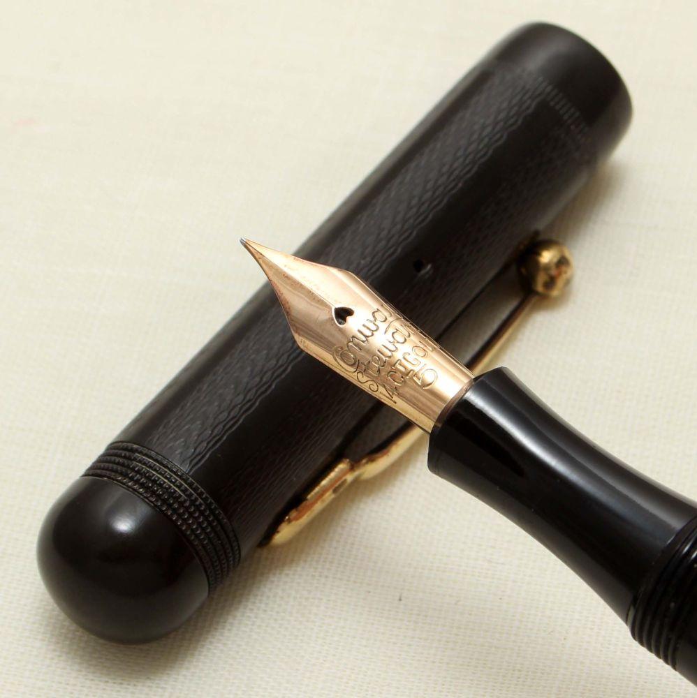 9254 Conway Stewart No.206 in Black Hard Rubber, Fine Flexible FIVE STAR Ni