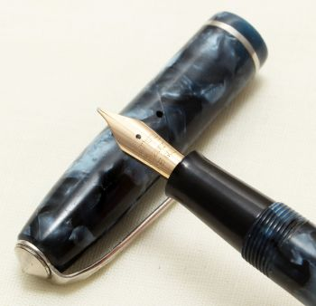 9256 Conway Stewart No.75 in Blue Marble. Fine side of Medium FIVE STAR Nib.