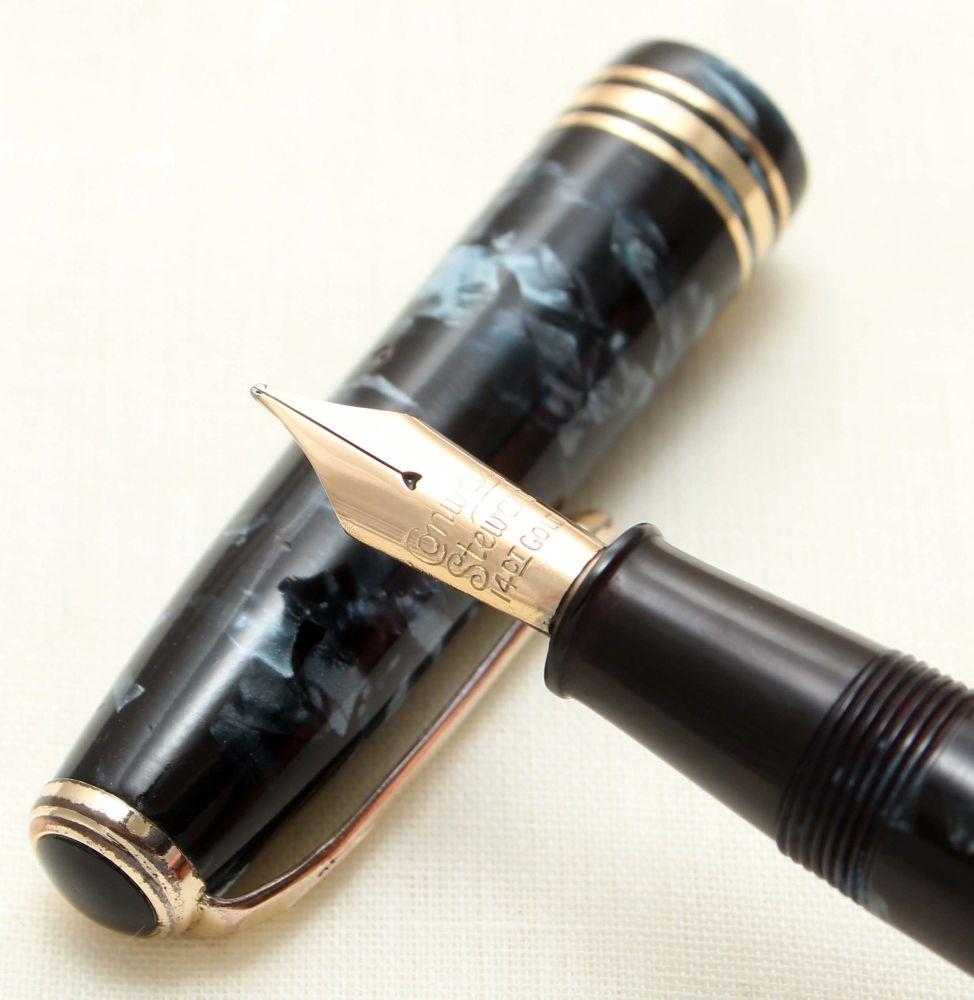 9255 Conway Stewart No.58 in Blue Marble. Smooth Medium FIVE STAR Nib.