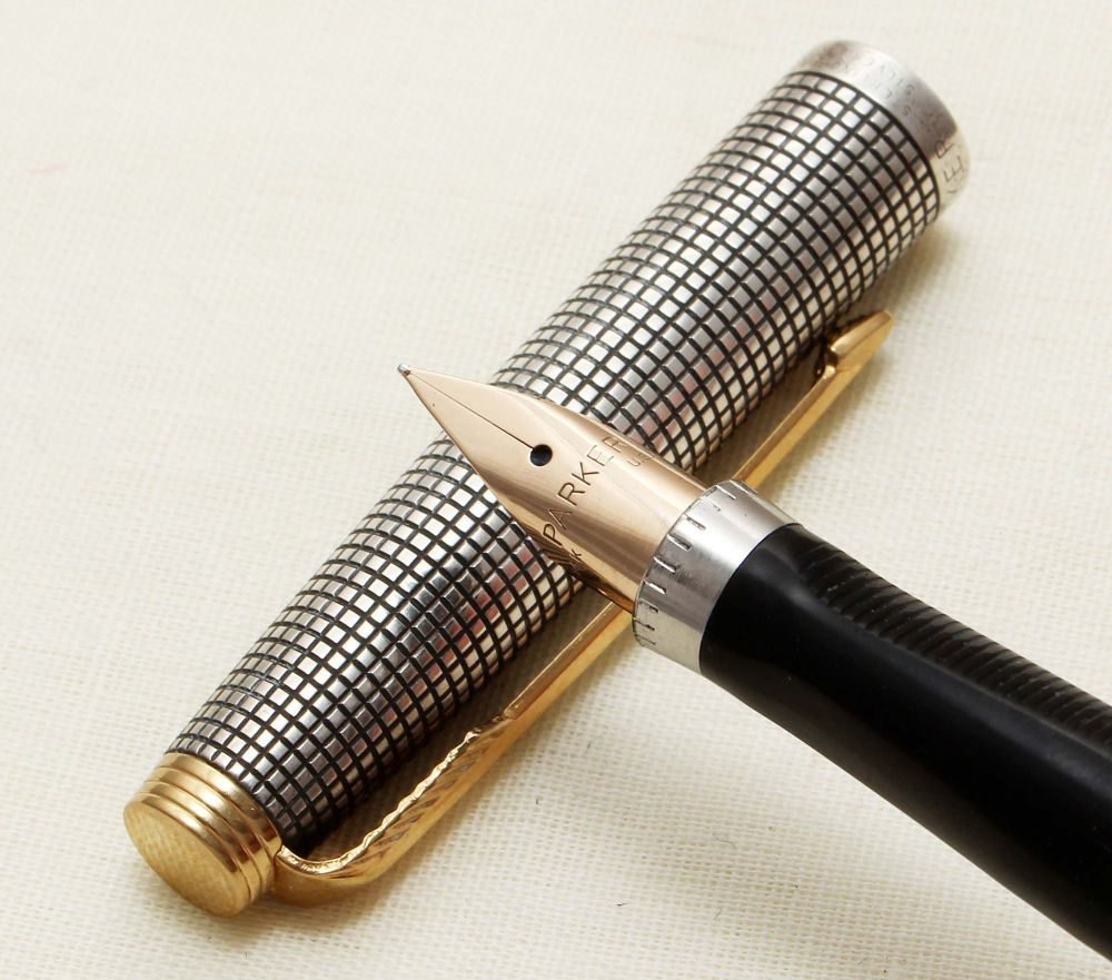9261 Parker 75 in Sterling Silver Ciselle, Smooth Fine FIVE STAR Nib.