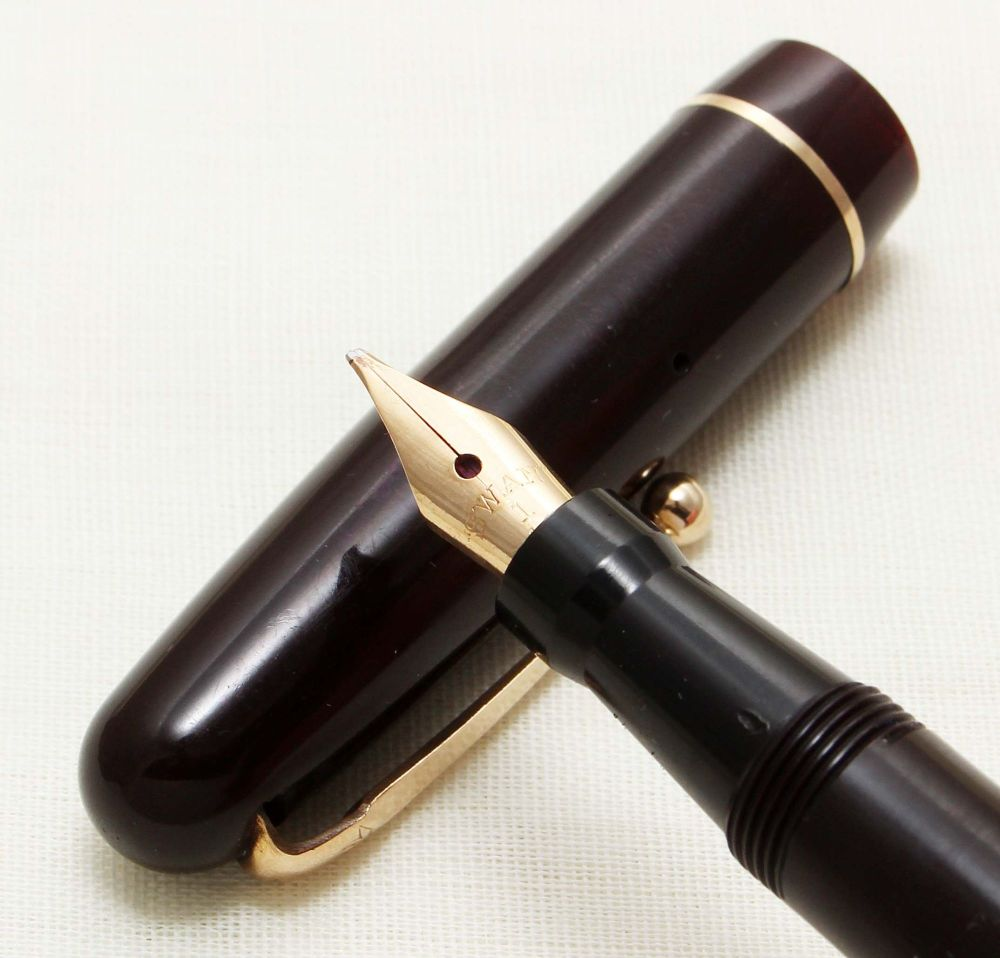 9275 Swan (Mabie Todd) Self Filler 3150 Fountain Pen in Dark Burgundy. Supe