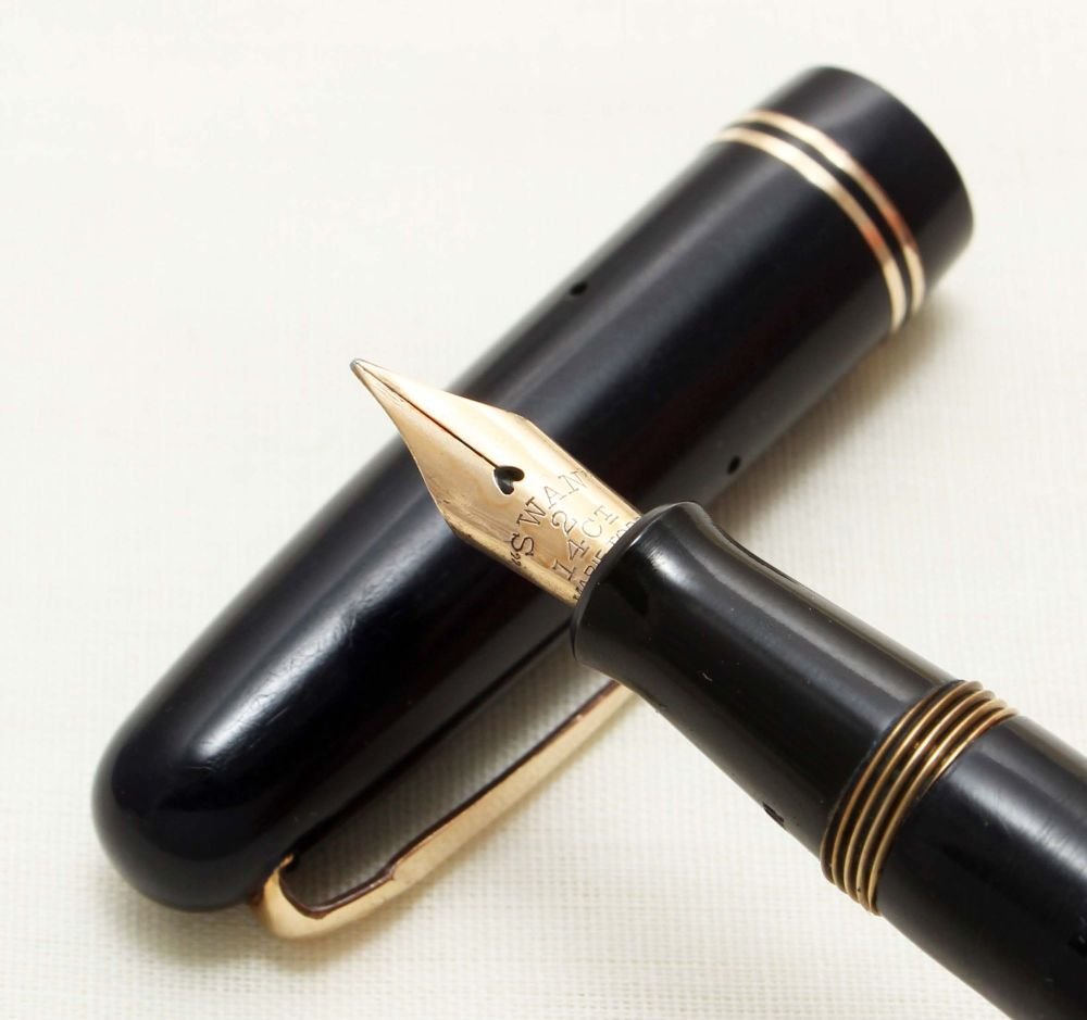 9279 Swan (Mabie Todd) Self Filler 3220 Fountain Pen in Dark Blue. Smooth F