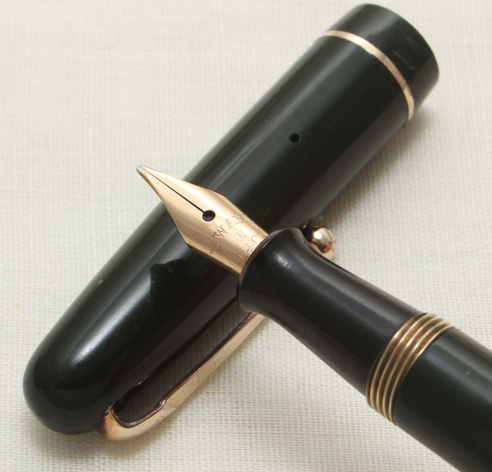9282 Swan (Mabie Todd) 3140 Self Filling Fountain Pen in Dark Green with Go