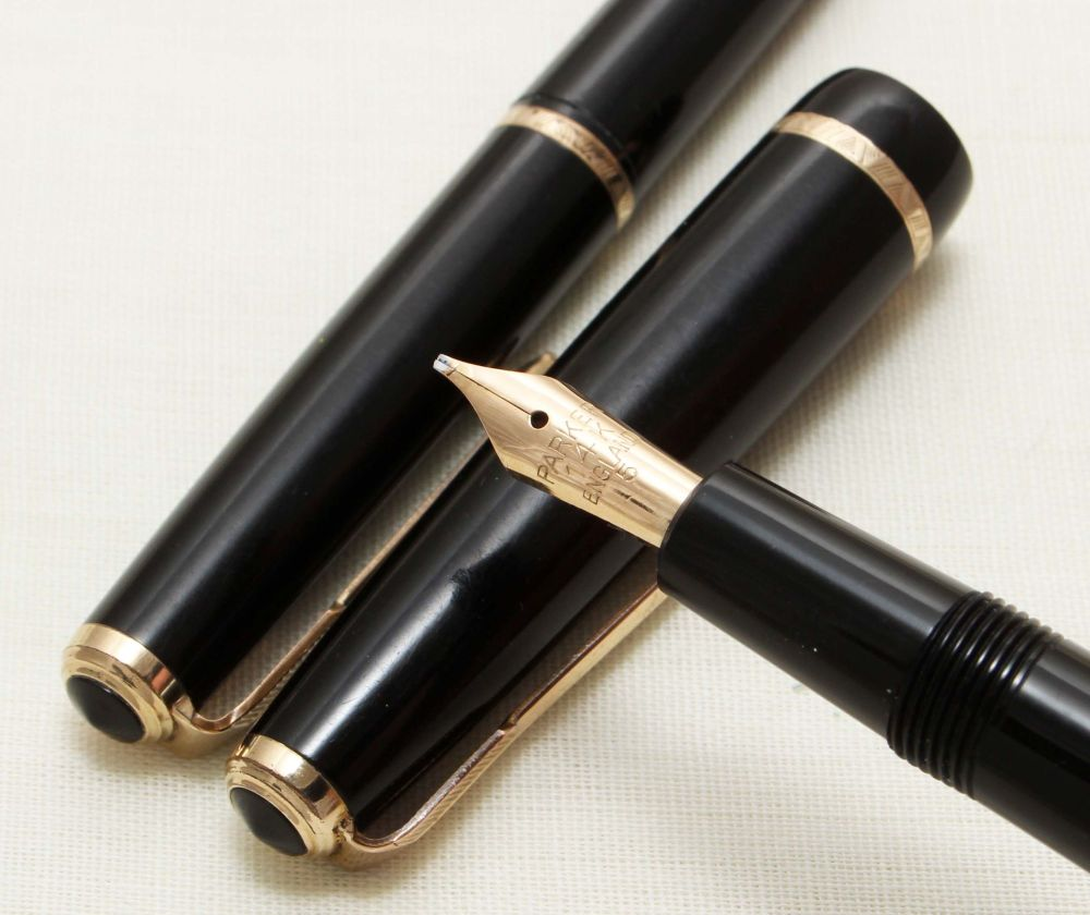9153 Parker Duofold Slimfold Set in Classic Black, Smooth Medium Italic FIV