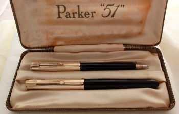 9296 Parker 51 Double Set in classic Black with Rolled Gold caps. Mint and Boxed. Medium Nib.