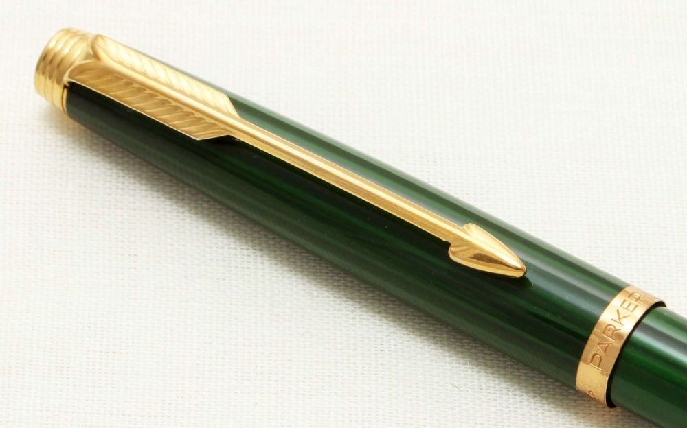 9300 Parker 75 Ball Pen in Malachite with Chinese characters, c1980.