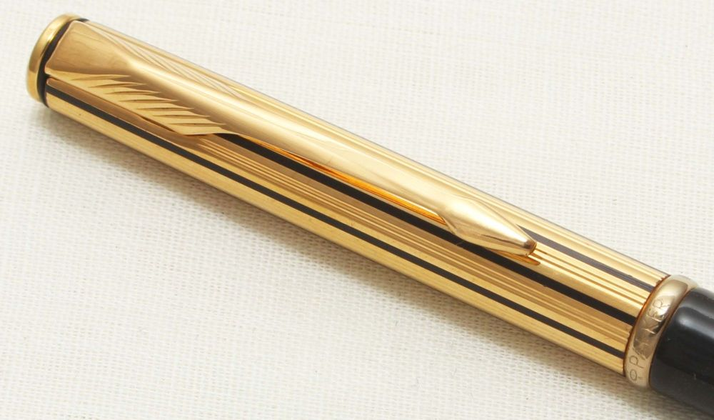 9308 Parker Insignia Ball Pen, Gold Filled Athenes cap with a Black Barrel.