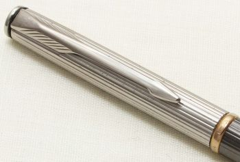 9326 Parker Insignia Ball Pen, Polished Chrome cap with a Grey Barrel. New Old Stock