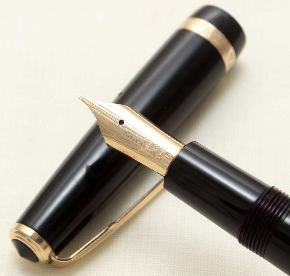 9348 Parker Duofold Maxima in Black, Large No.50 Medium FIVE STAR Nib.