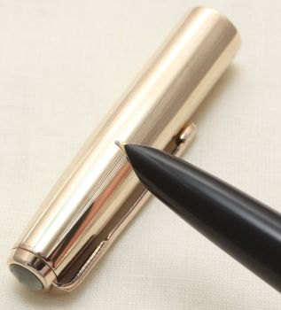 9359 Parker 51 Aerometric in Black with a Rolled Gold Cap. Smooth Fine side of Medium FIVE STAR Nib.