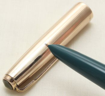 9360. Parker 51 Aerometric in Teal Blue with a Rolled Gold Cap, Smooth Medium Nib.