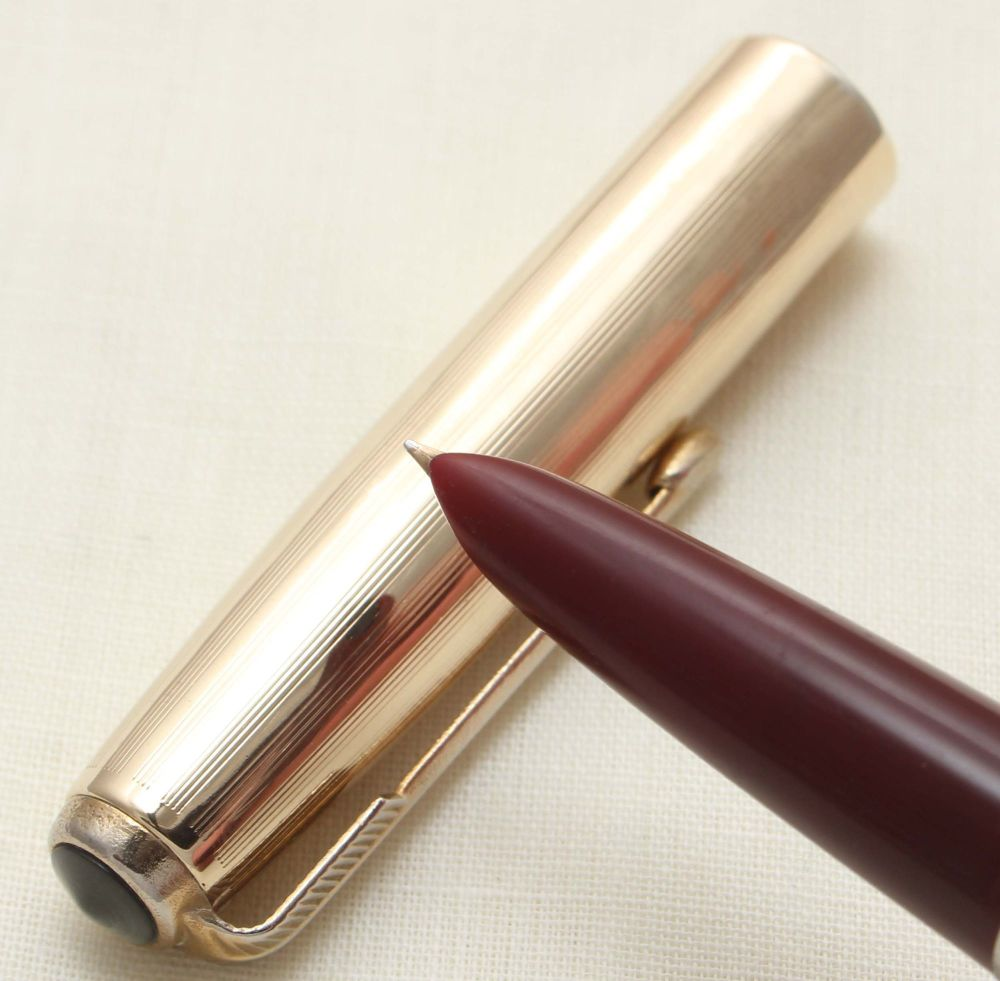 9361. Parker 51 Aerometric in Burgundy with a Rolled Gold Cap, Smooth Fine