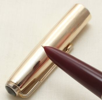 9361. Parker 51 Aerometric in Burgundy with a Rolled Gold Cap, Smooth Fine Nib.