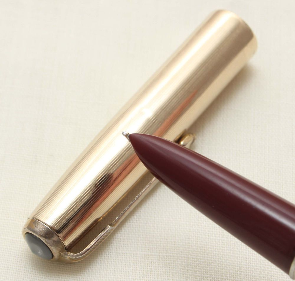 9362. Parker 51 Aerometric in Burgundy with a Rolled Gold Cap, Smooth Fine