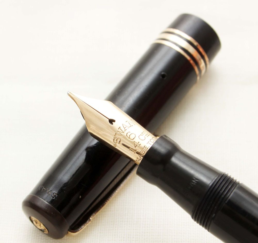 9380 - Swan (Mabie Todd) Leverless Fountain Pen in Classic Black, large No.