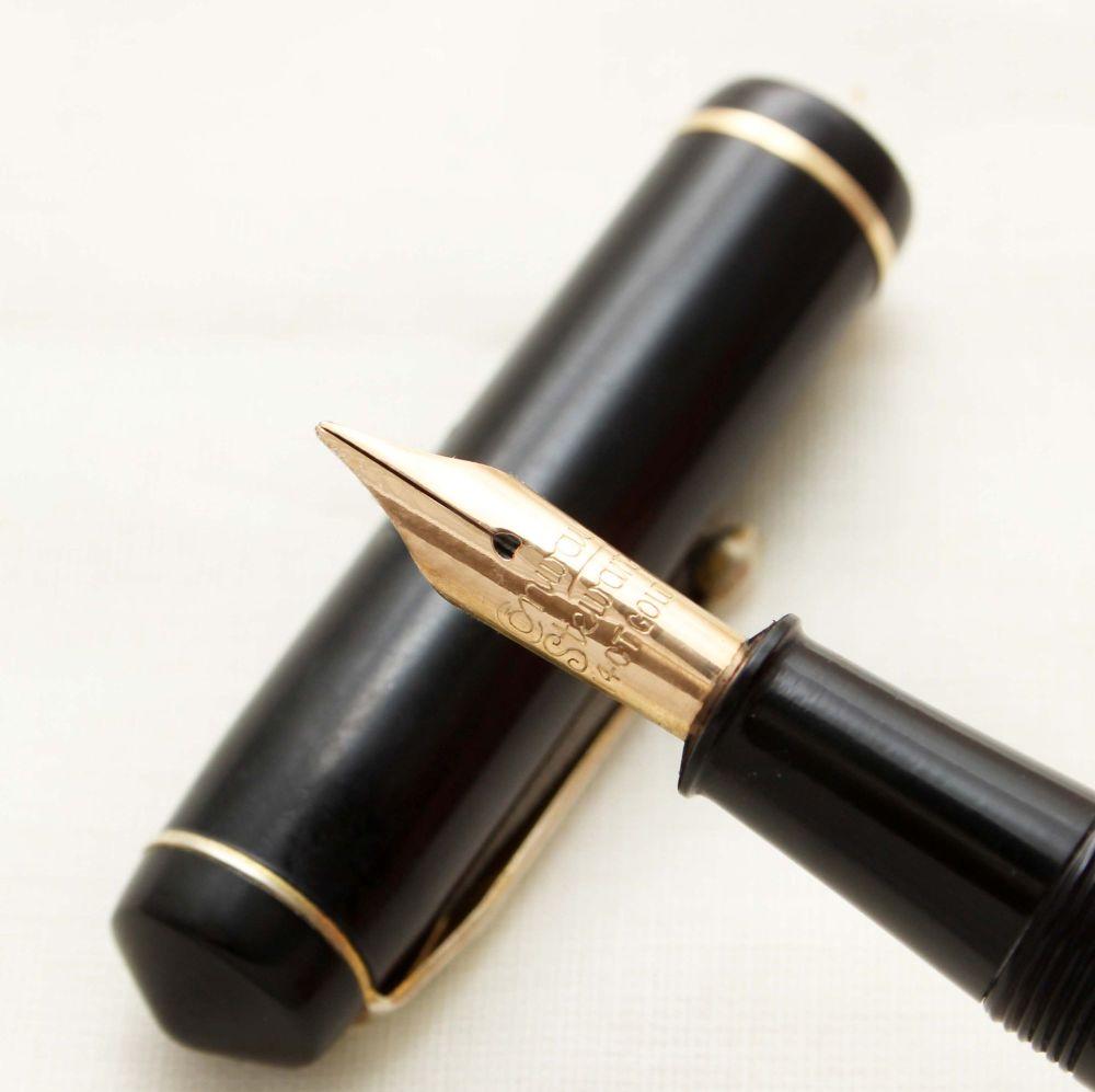 9381 Conway Stewart No.286 in Classic Black. Medium Semi Flex FIVE STAR Nib