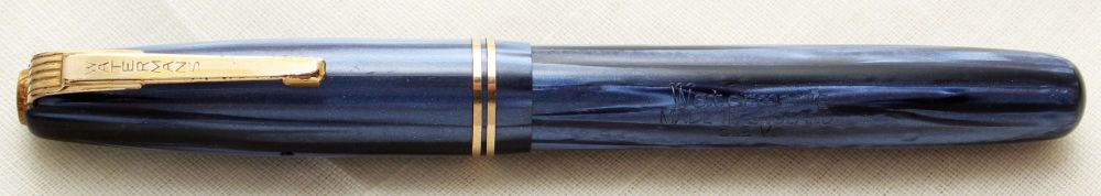 9389 Watermans 512V Fountain Pen in Blue Striated Marble. Smooth Fine Semi