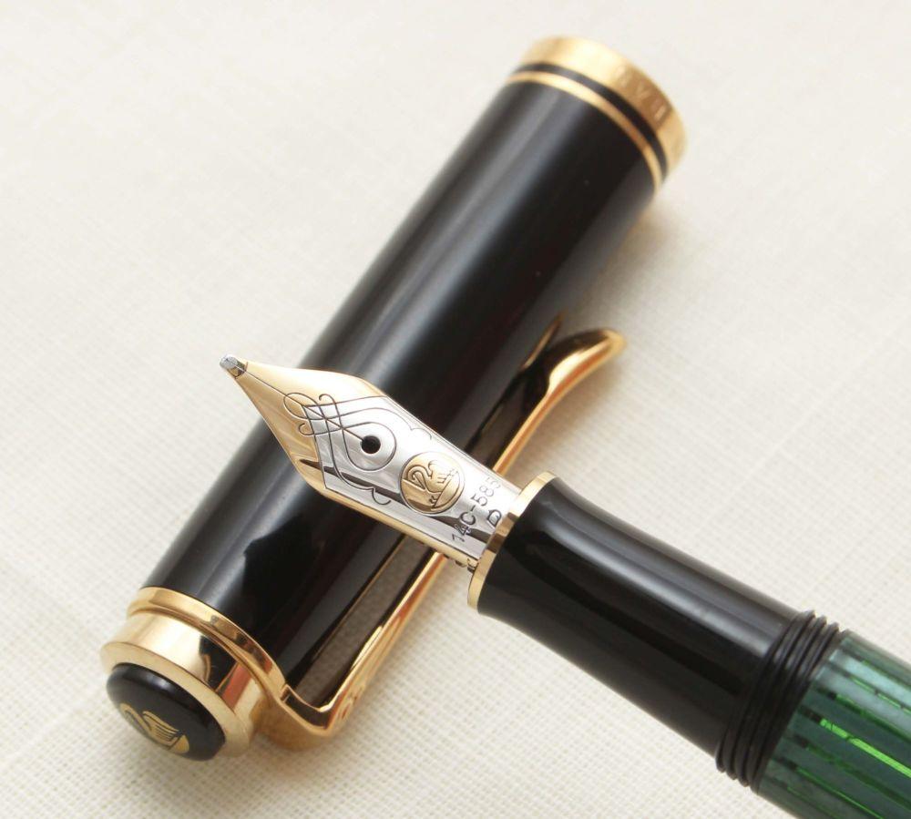 9390 Pelikan M300 Souveran Fountain Pen in Black and Green Stripes. Broad F