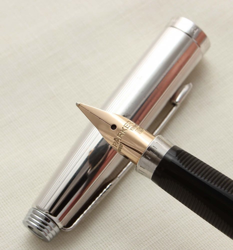9426 Parker 75 in Silver Plated Milleraies, Smooth Medium FIVE STAR Nib.