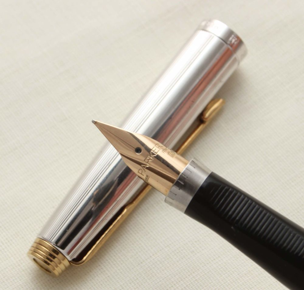 9427 Parker 75 in Silver Plated Milleraies, Smooth Extra Fine FIVE STAR Nib