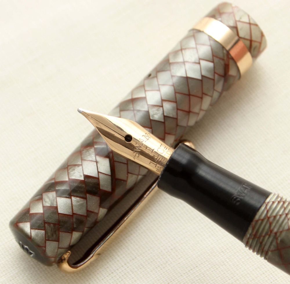 9470 Swan (Mabie Todd) Self Filling Fountain Pen in Red Veined Grey Snakesk
