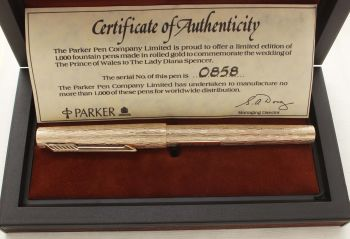 9476. Parker 105 Royal Wedding Limited Edition Commemorative Pen. Mint and boxed.