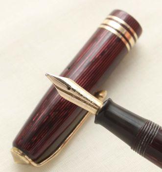 9388 Conway Stewart No.36 Fountain Pen in Lined Burgundy, Superb Medium Italic FIVE STAR nib.