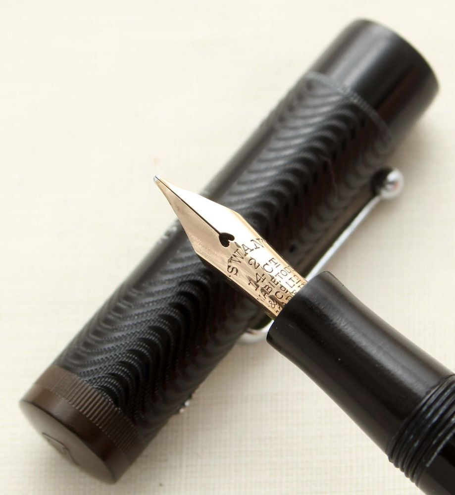 9498 Swan (Mabie Todd) Leverless L200/60 Fountain Pen in Black. Smooth Medi