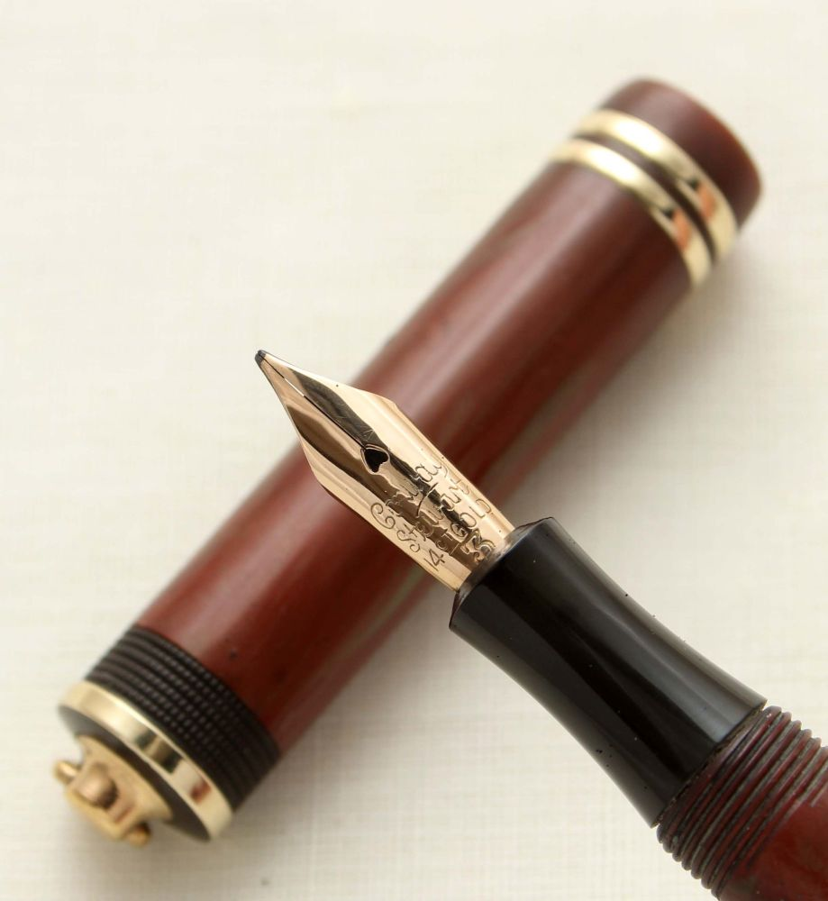 9505 Rare and Early Conway Stewart No.726M Dandy Fountain Pen in Red-Brown